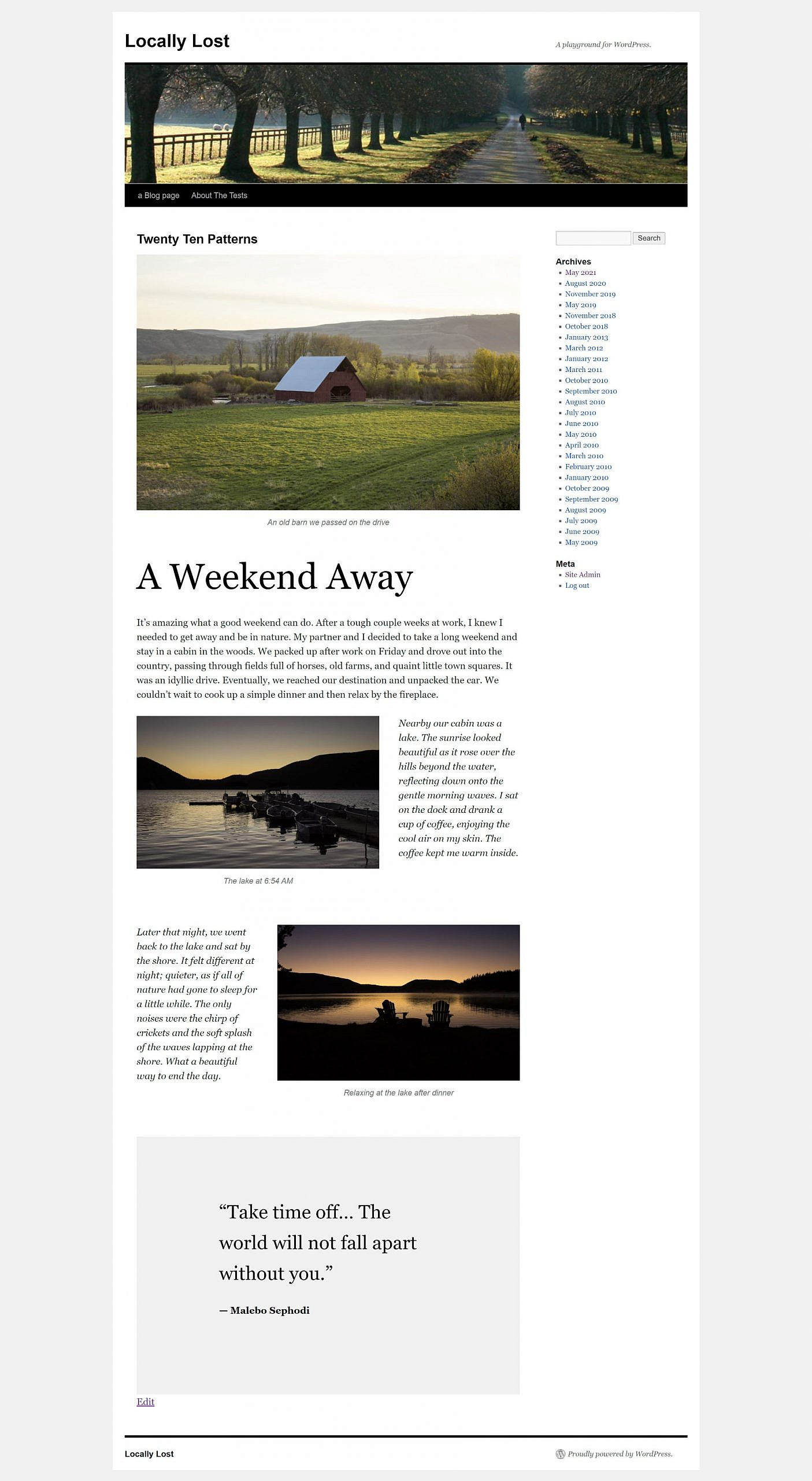Full-page screenshot of the Twenty Ten theme and its three new block patterns.