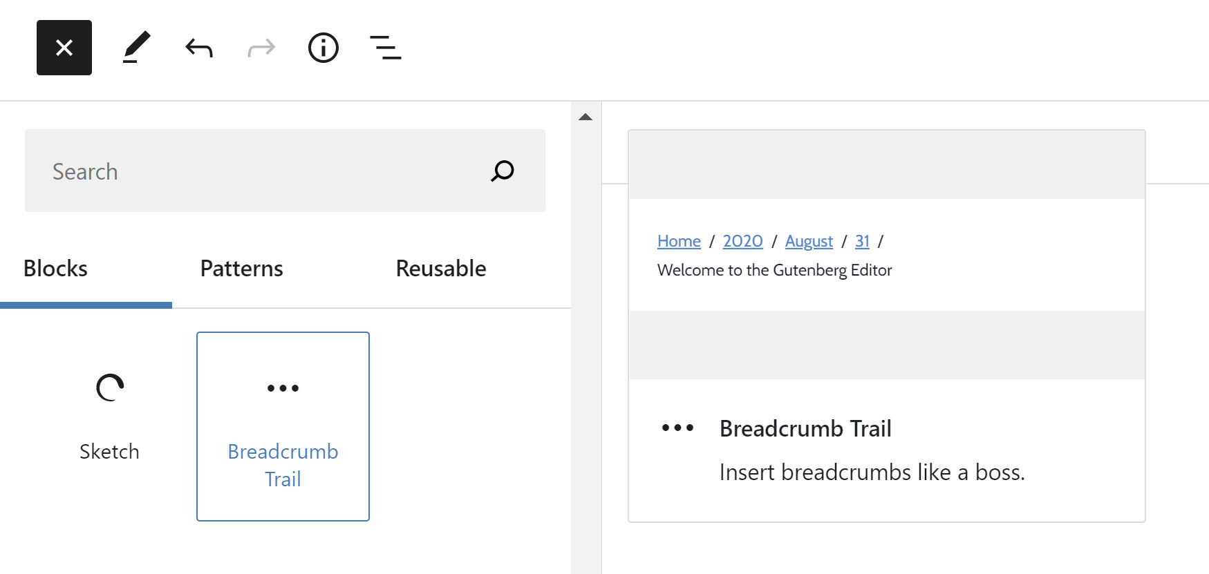 WordPress block inserter with a breadcrumbs block selected, showing its preview.