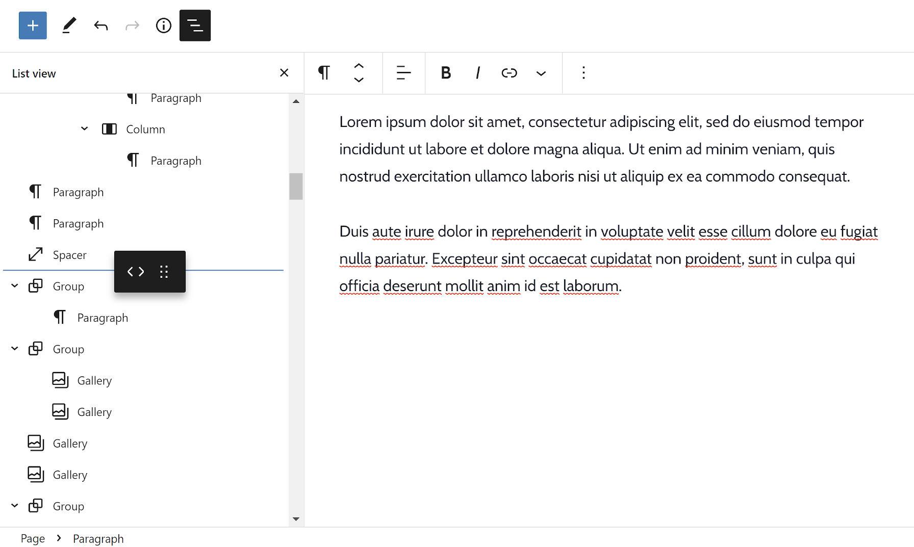 Trascinare un blocco da un'area all'altra all'interno della visualizzazione elenco dell'editor blocchi.