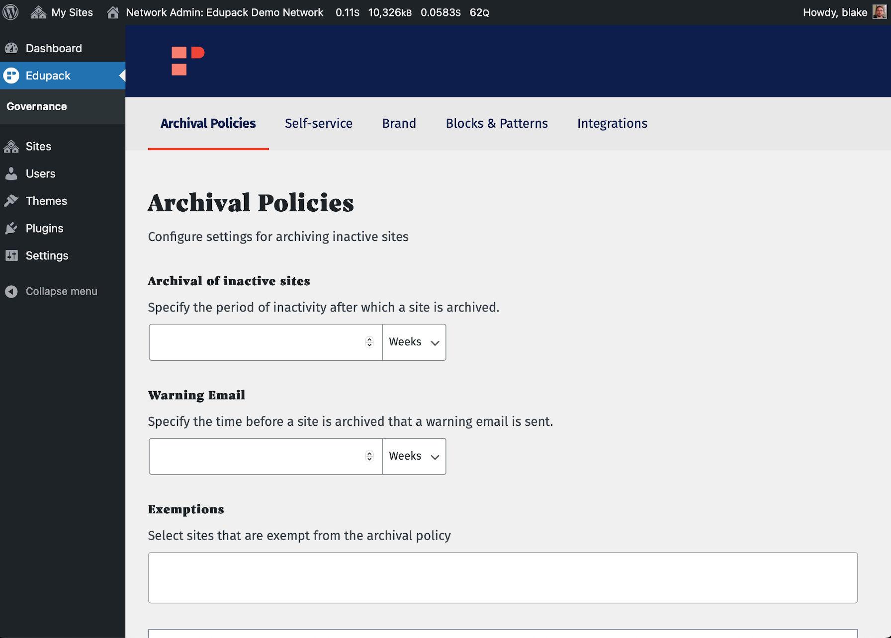 Archiving settings screen for Edupack.
