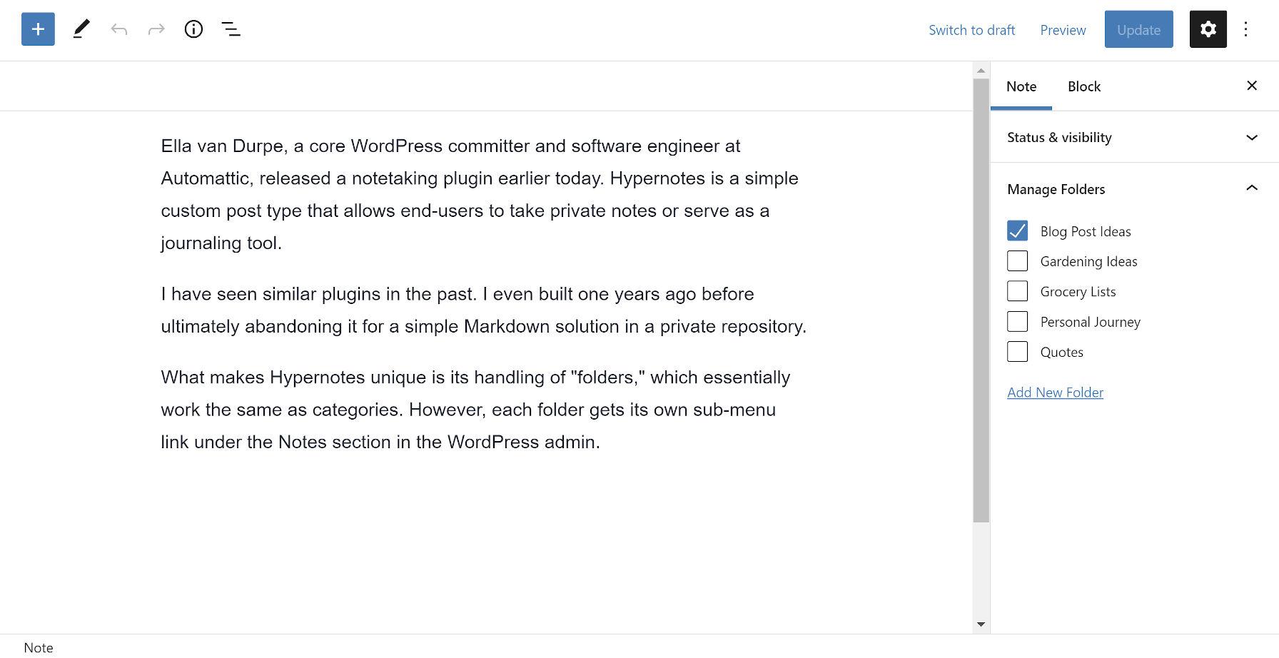 Editor di post di WordPress che mostra il plug-in Hypernotes.