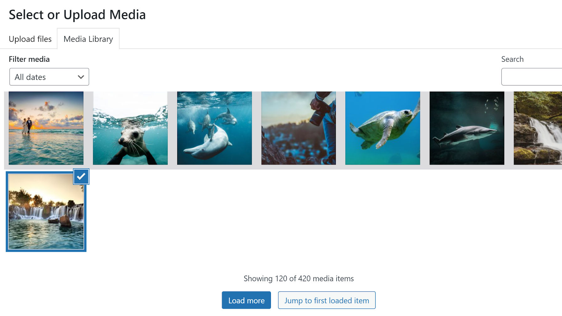 Screenshot of the media library with an Ajax-powered load more button.