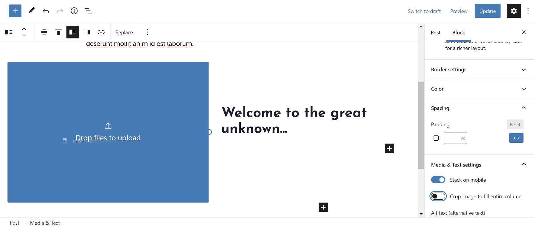 Blocco media e testo nell'editor di WordPress. Screenshot dell'utente che trascina un elemento multimediale sostitutivo nella colonna media.