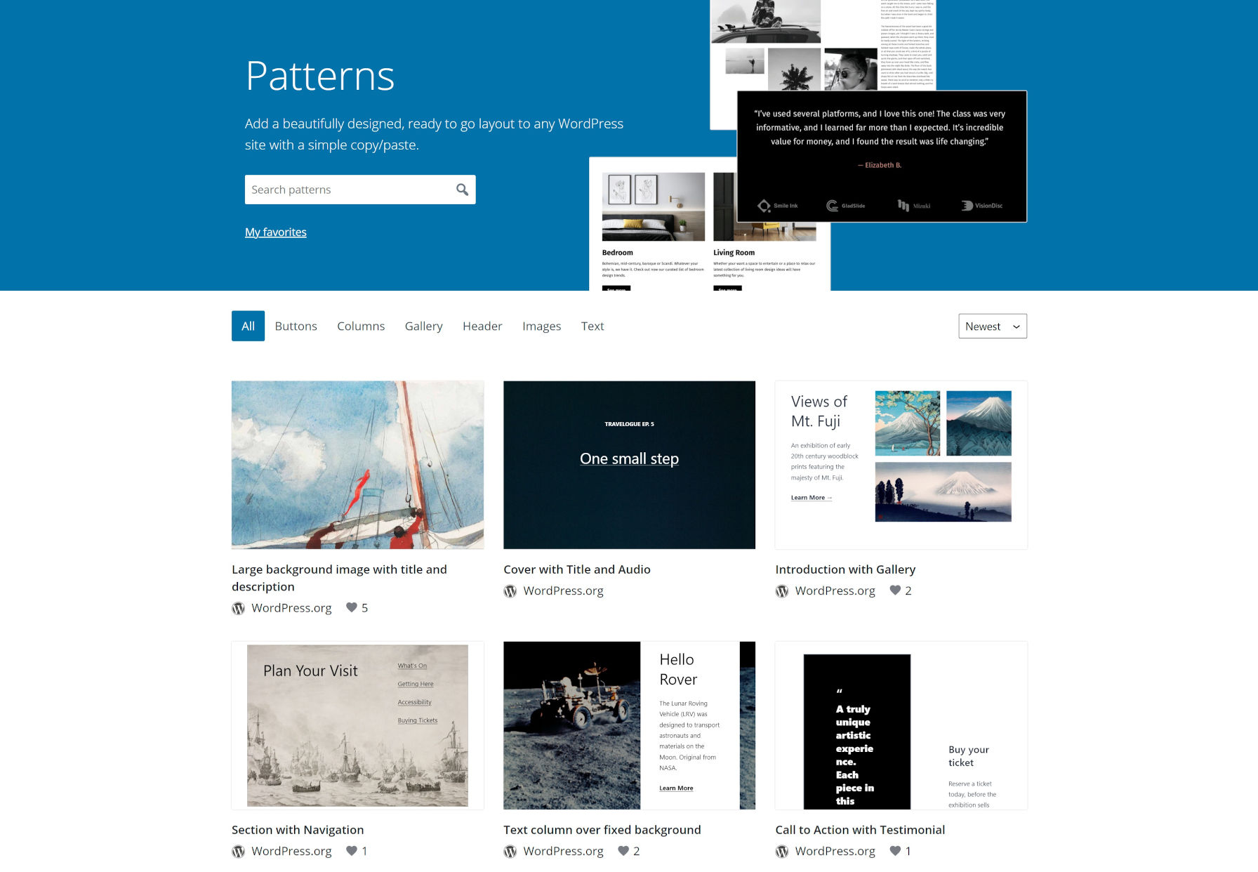 Homepage for the WordPress.org pattern directory, showcasing the latest pattern submissions in a grid.