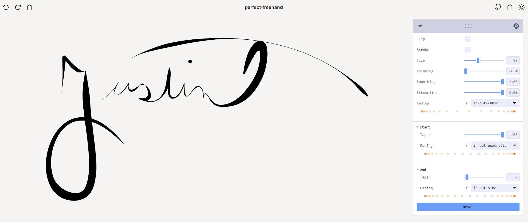 """""""Justin"""" scritto nella demo di Perfect Freehand, disegnato a mano."""