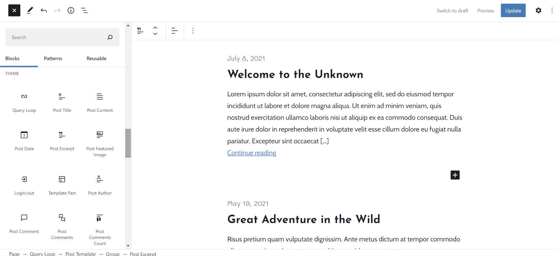 Inserimento blocchi aperto nell'editor di WordPress, che mostra i blocchi della categoria Tema.