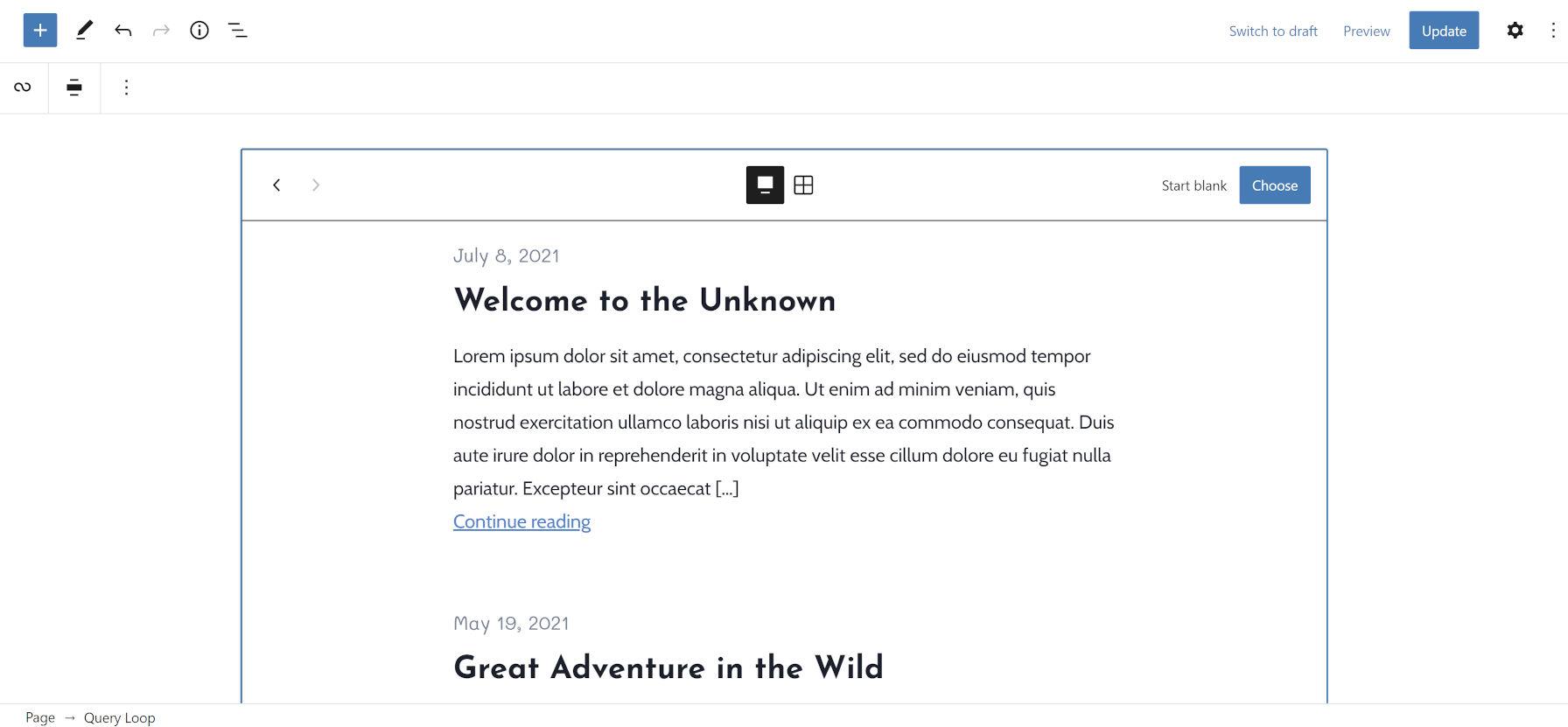 Un pattern Query Loop nell'editor di WordPress che mostra la data del post, il titolo e l'estratto.