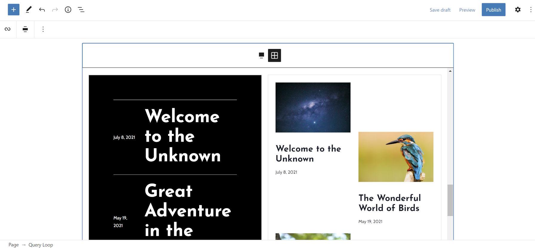 Una vista a due colonne, basata su griglia, dei modelli disponibili per l'inserimento nell'editor di WordPress.