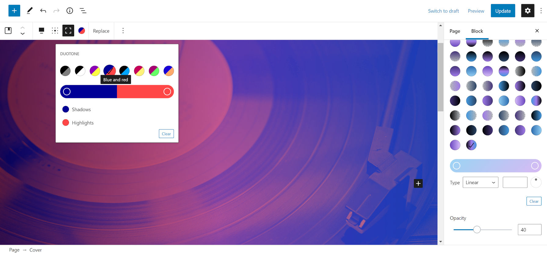 Applying a blue and red duotone filter along with a black, purple, and blue transparent overlay on top of an image of a record and player.