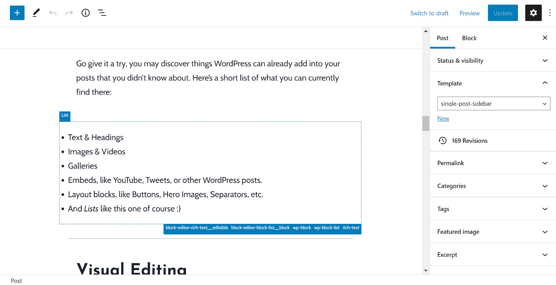 Viewing a list block in the editor where the Wayfinder plugin's padding misaligns it.