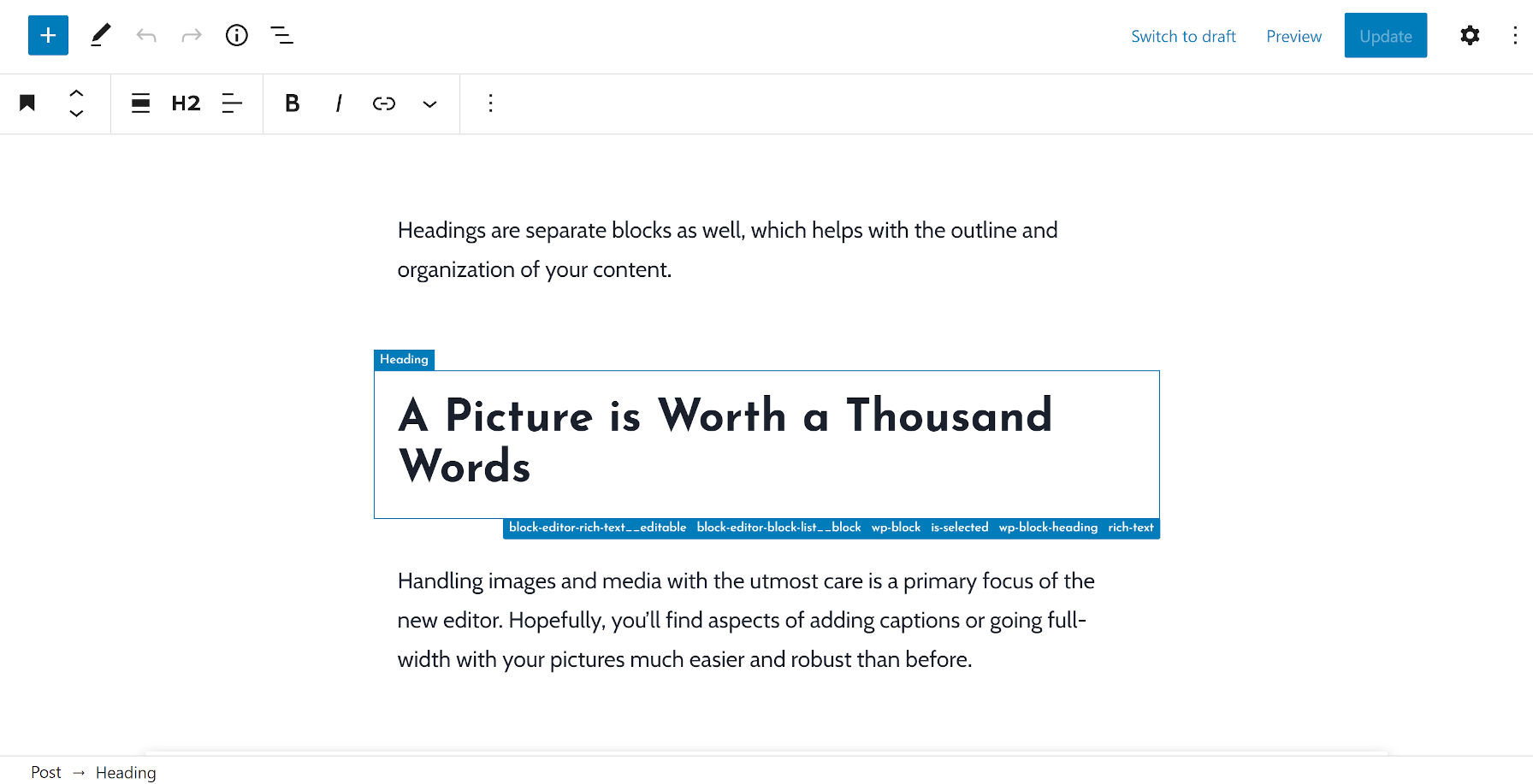 Outline of a heading block between two paragraphs via the Wayfinder plugin.