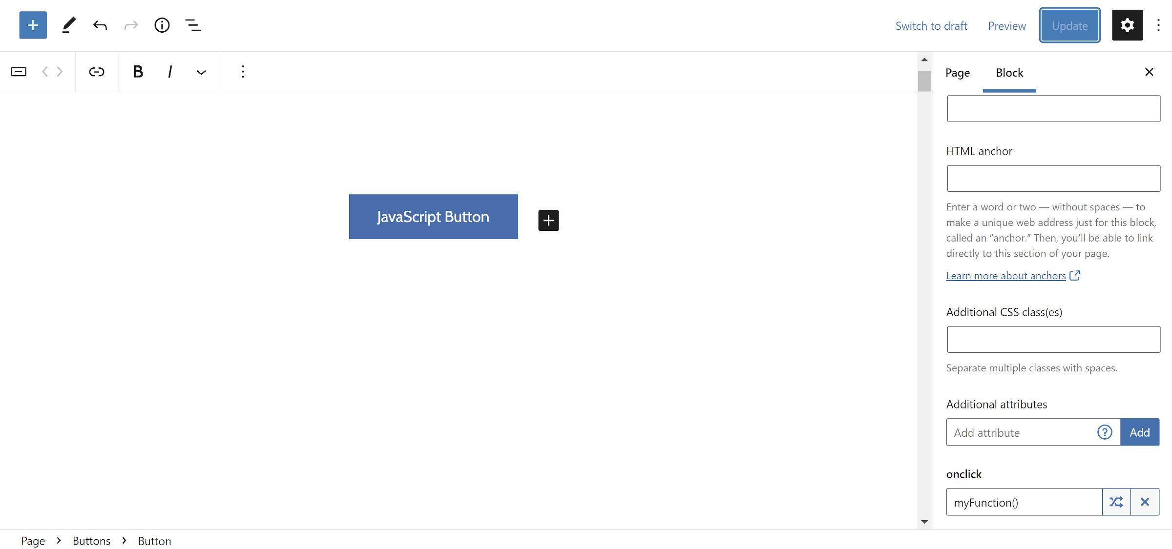Adding a custom attribute for JavaScript handling to a Button block in the WordPress editor via the Block Attributes plugin panel.