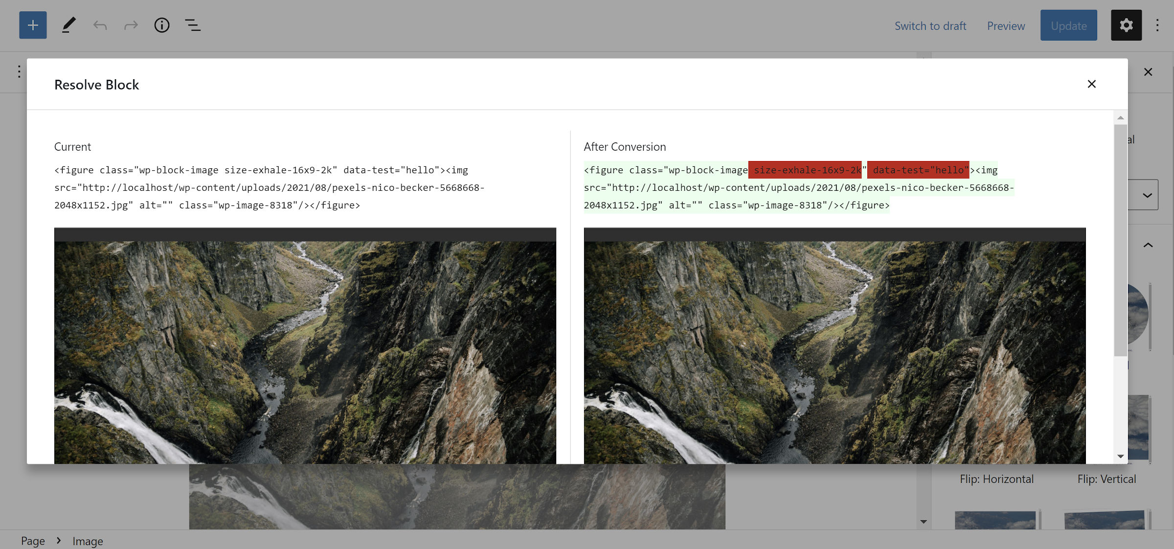 Side-by-side view of the block resolution popup modal in the WordPress editor.