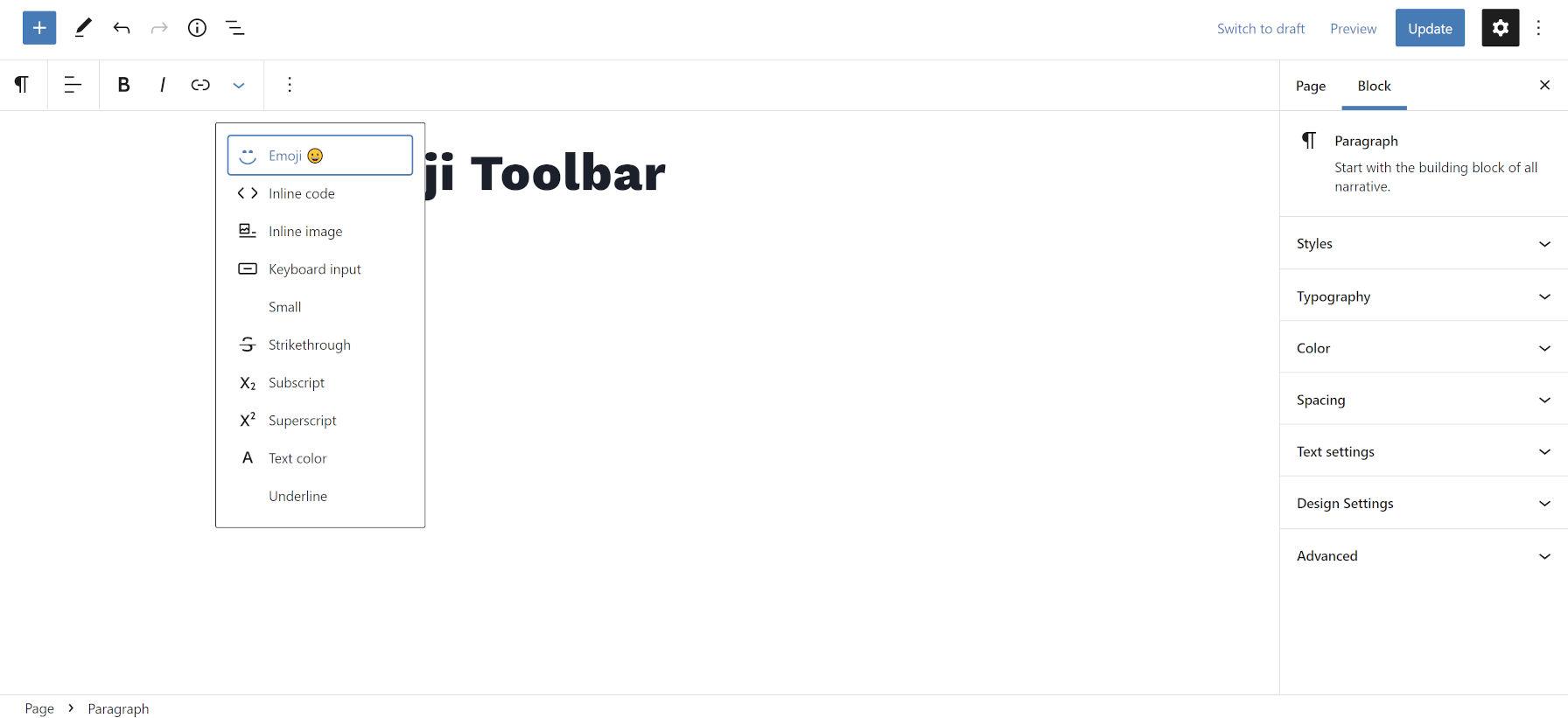 Elenco dei pulsanti a discesa dal plug-in Emoji Toolbar nell'editor di WordPress.