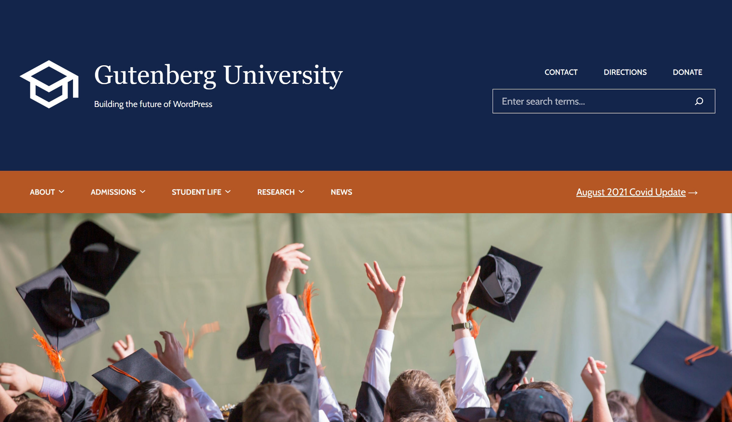 Fictional university website header with logo, title, description, navigation, and featured image.