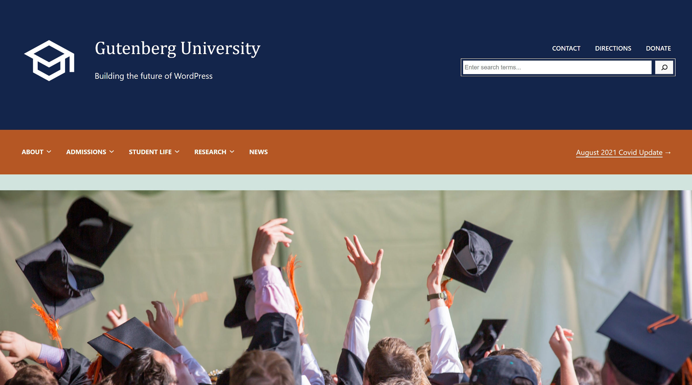 Fictional university website header with logo, title, navigation, search, and image.