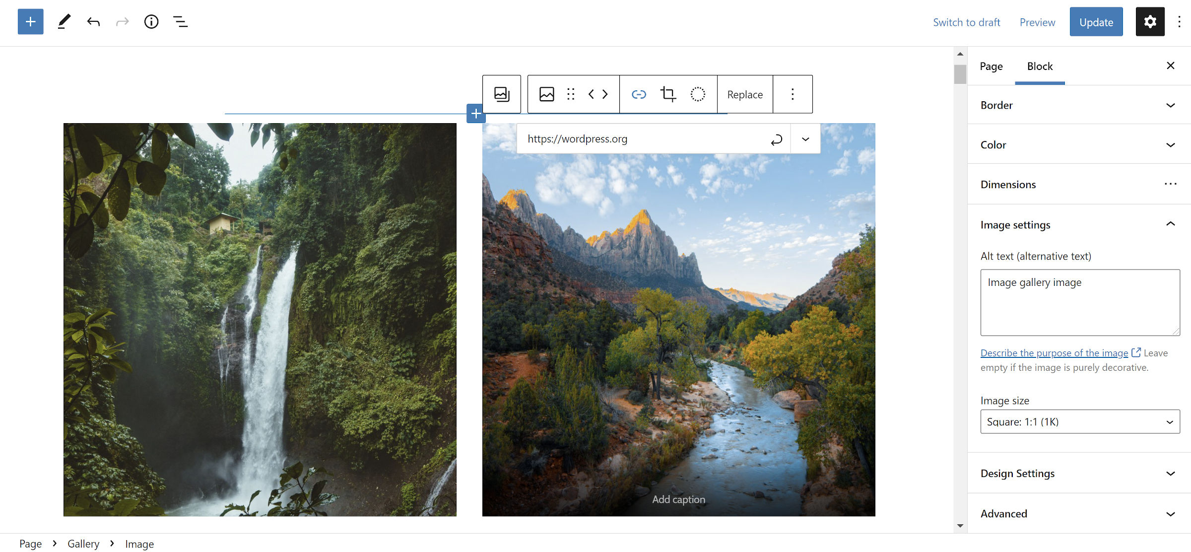 New WordPress Gallery block in the editor with the toolbar link option open.