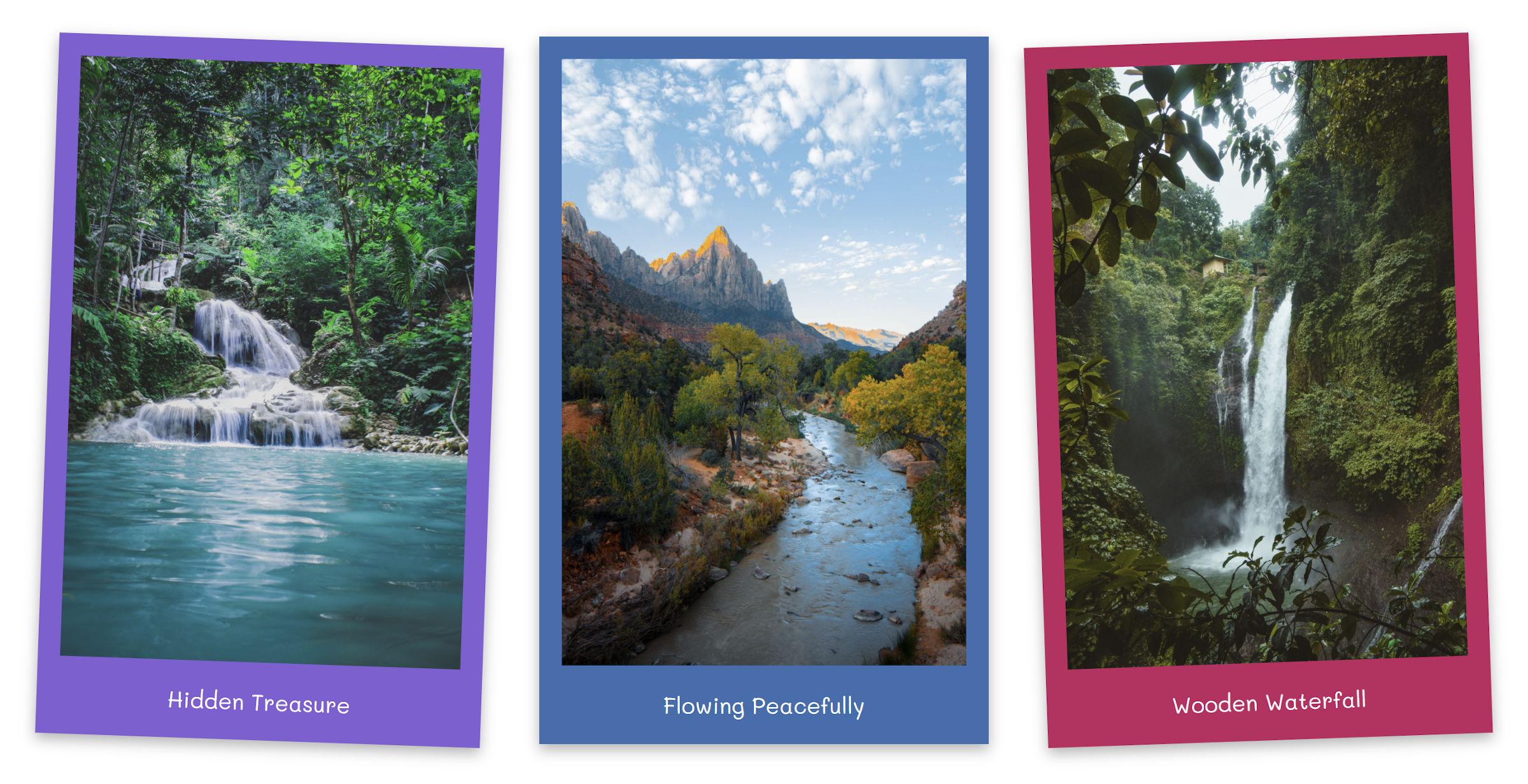 Blocchi immagine personalizzati all'interno di una galleria WordPress con cornici in stile Polaroid e colori di sfondo personalizzati.