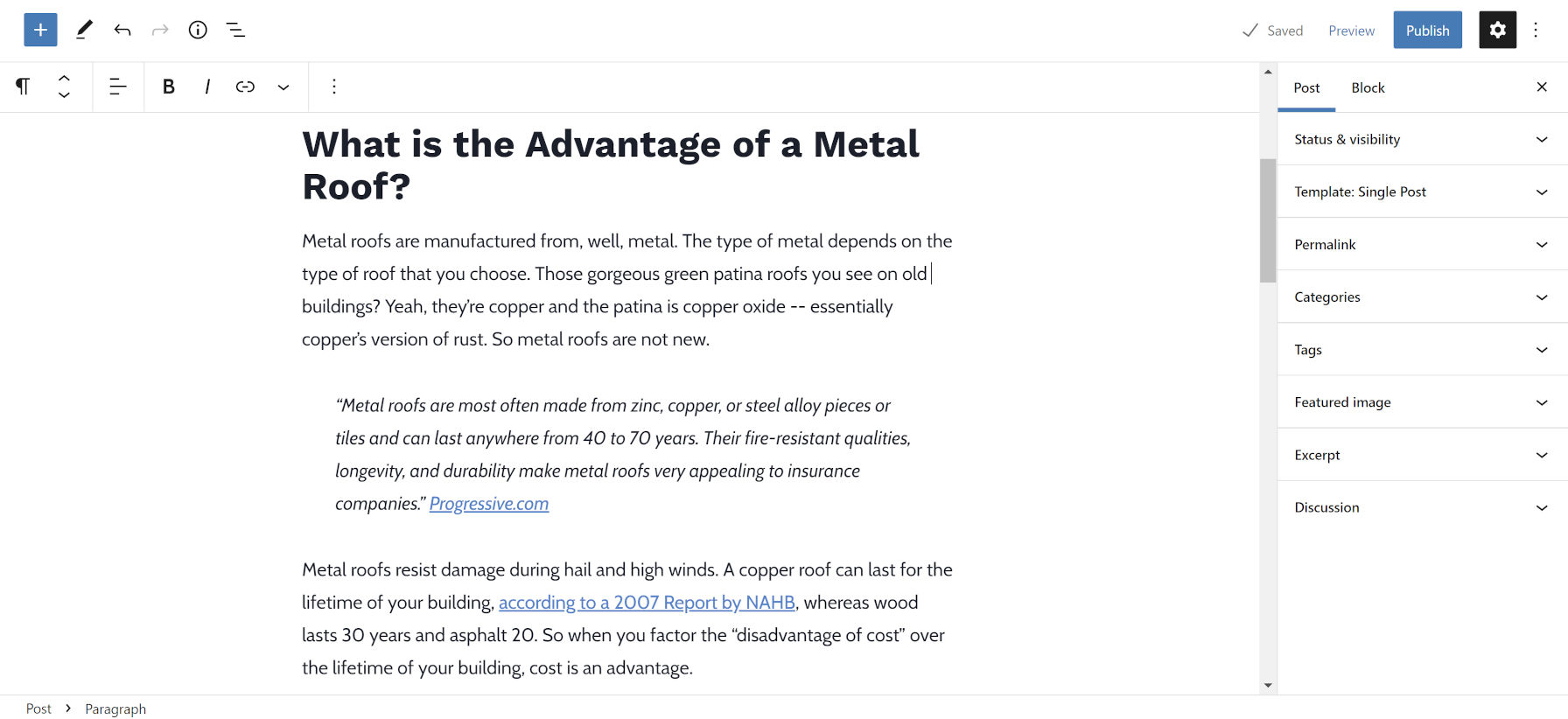 Block editor preview of a blog post on metal roofing as part of the Launch With Words roofing content pack.