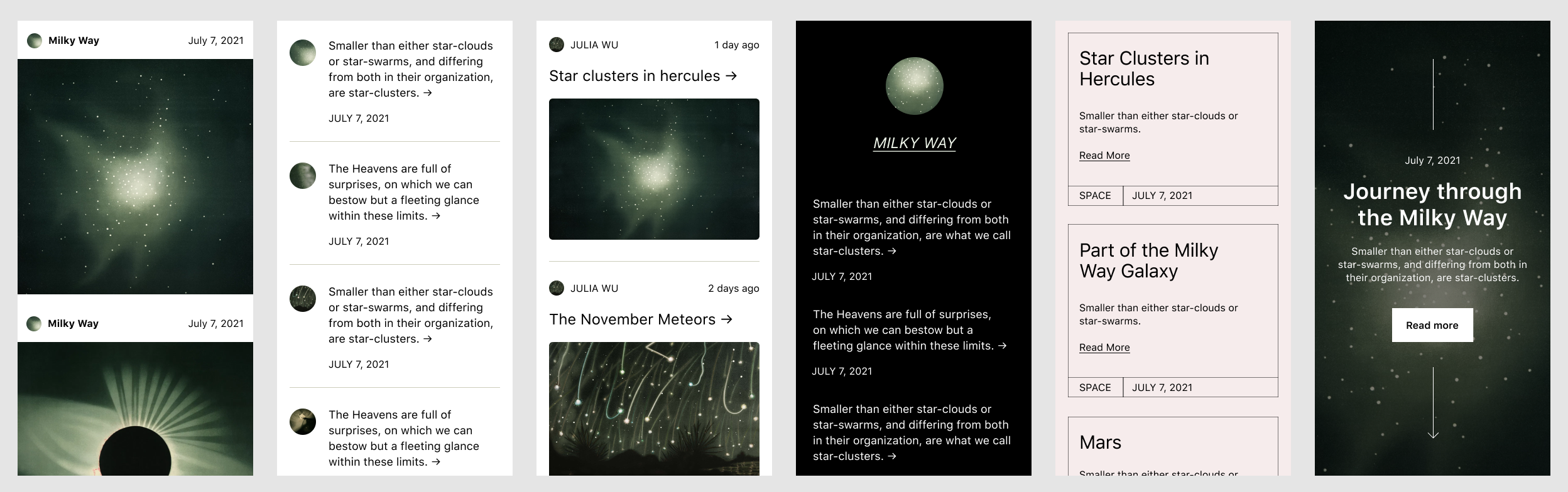 Various mobile design patterns showcasing post excerpts.