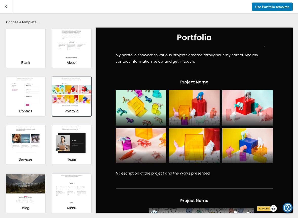 Selettore di modelli di avvio o modelli di pagina per l'inserimento di contenuti a pagina intera nell'editor di WordPress.