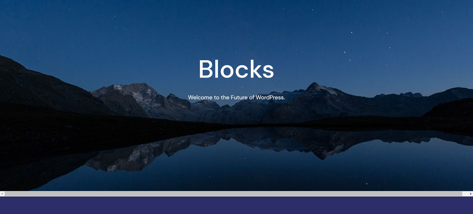 Barra di scorrimento orizzontale quando si utilizza un blocco a larghezza intera con il tema Quadrat.