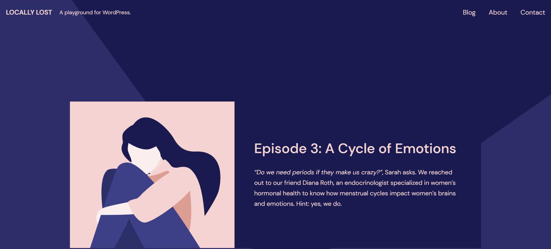 Screenshot del tema Quadrat WordPress con il suo pattern Episode sulla homepage.