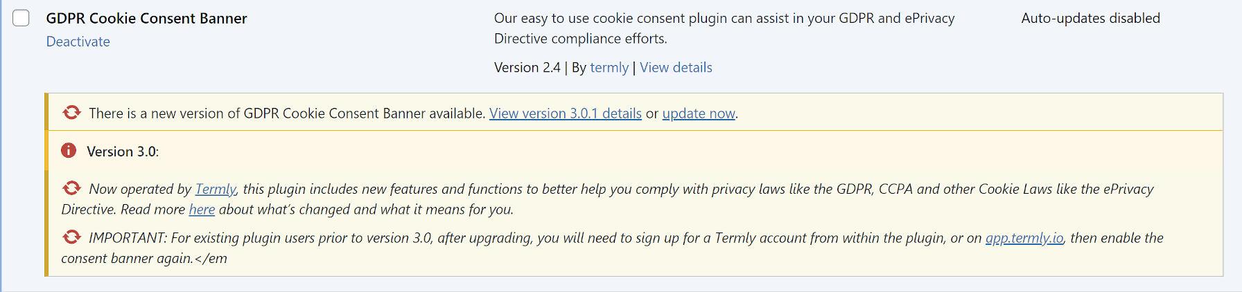 Avviso dell'amministratore dal plug-in di consenso sui cookie GDPR prima dell'aggiornamento a 3.0.