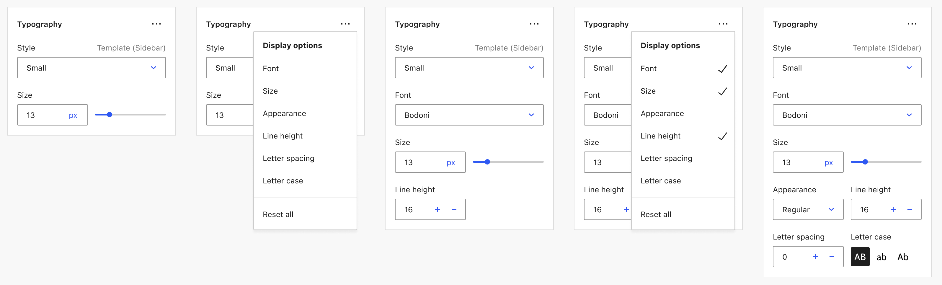 Gutenberg block editor proposal for toggling typography controls.