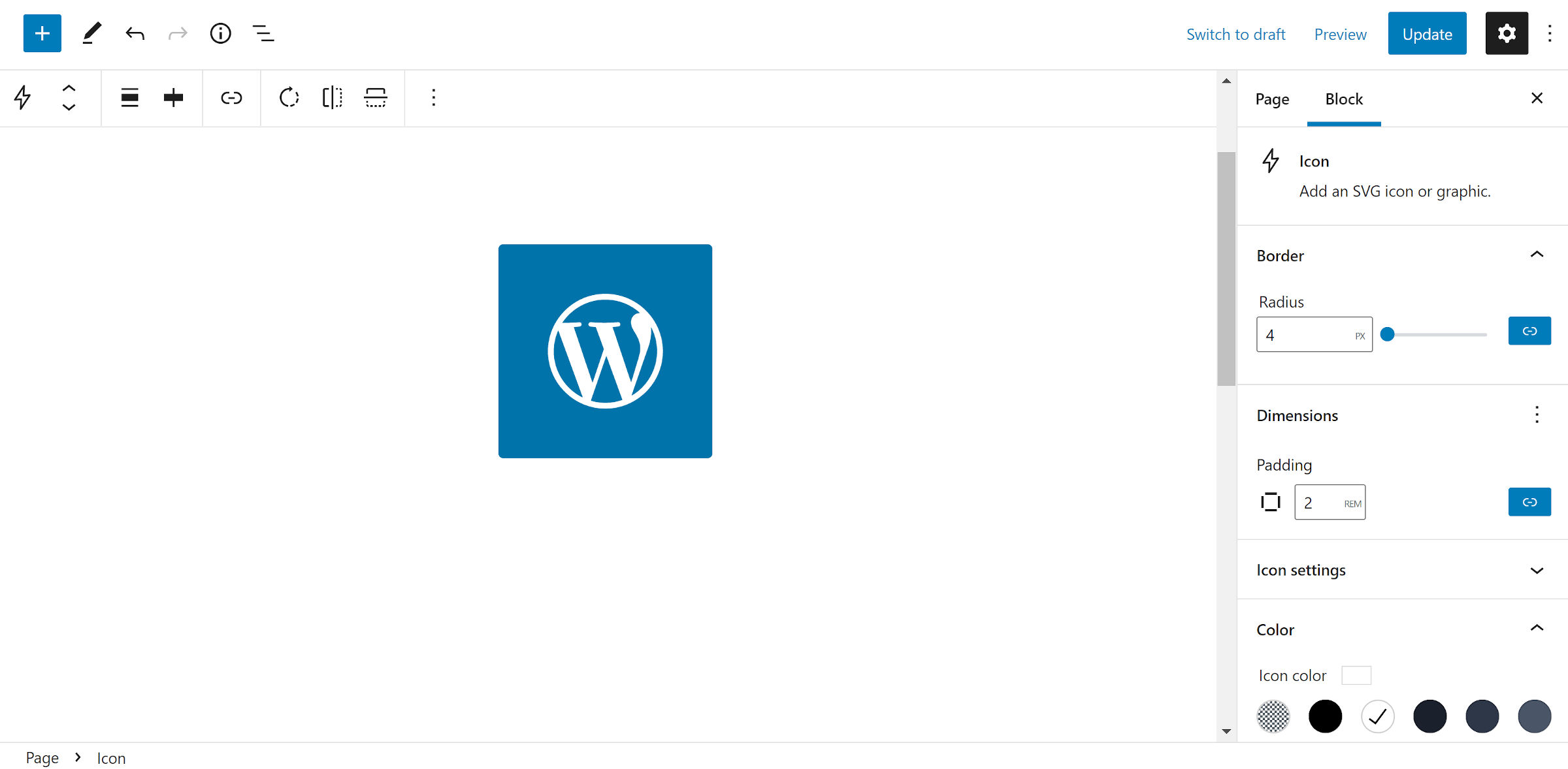 The WordPress logo as an icon with a blue background and white icon.