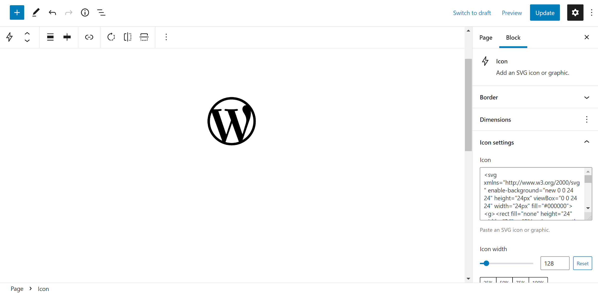 The WordPress logo icon in black.