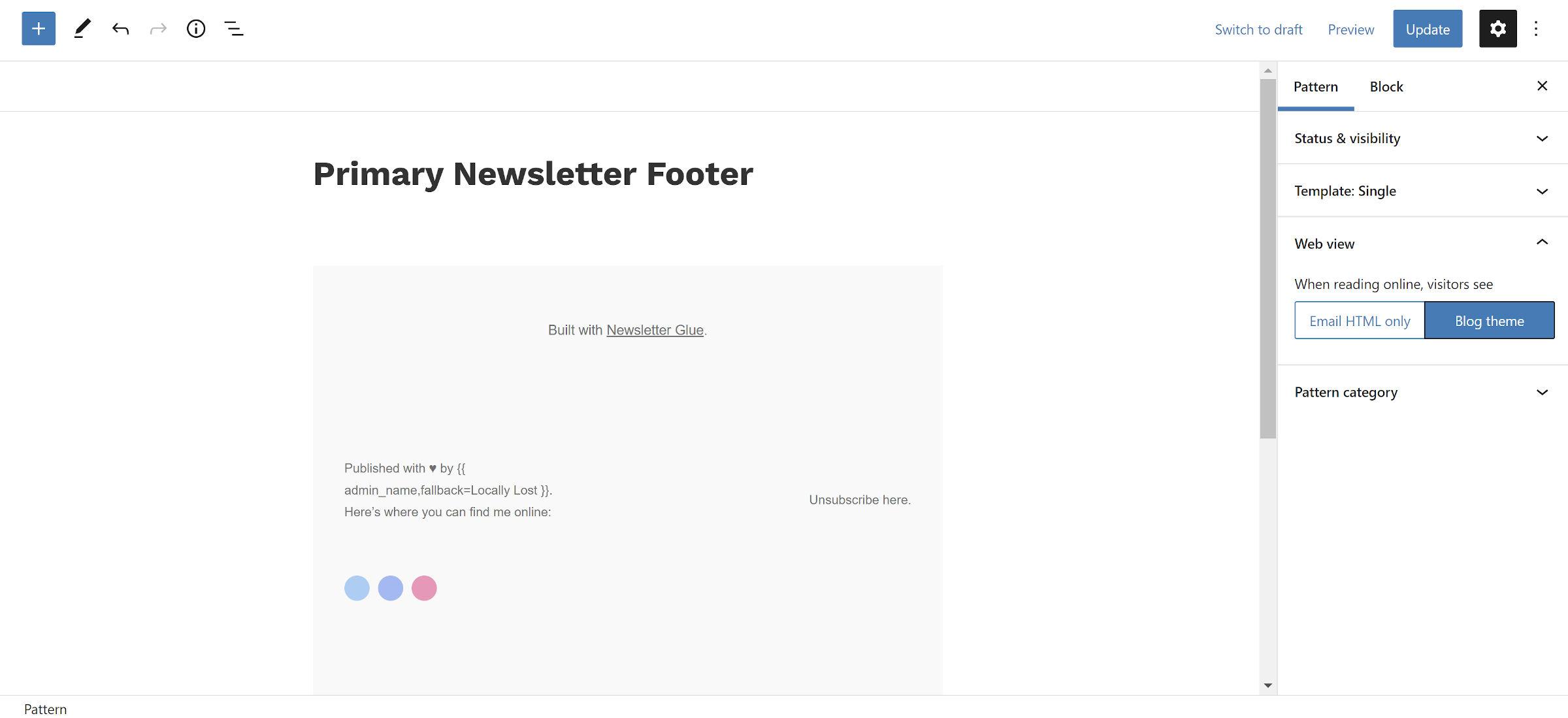 Newsletter block pattern in the WordPress editor.