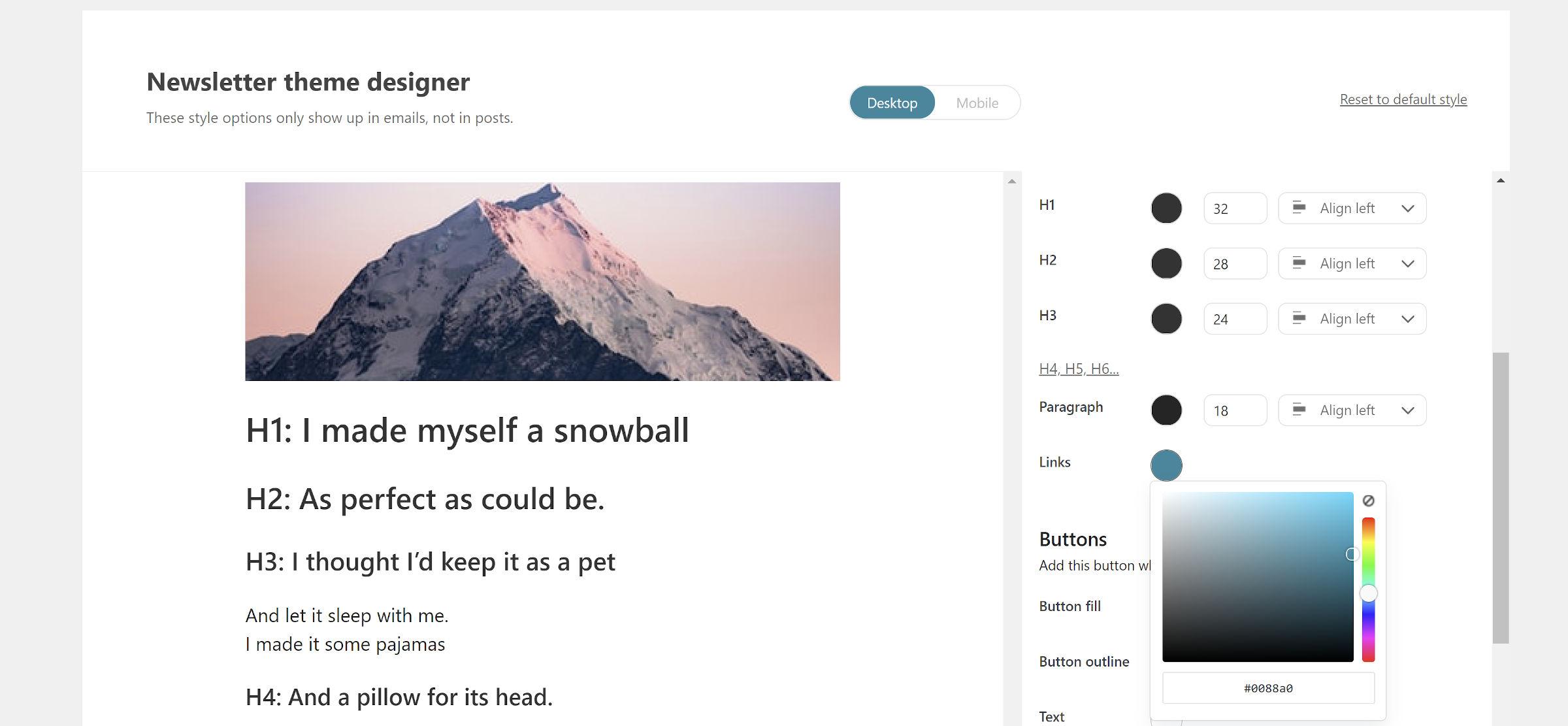 Newsletter theme design screen from the Newsletter Glue plugin.