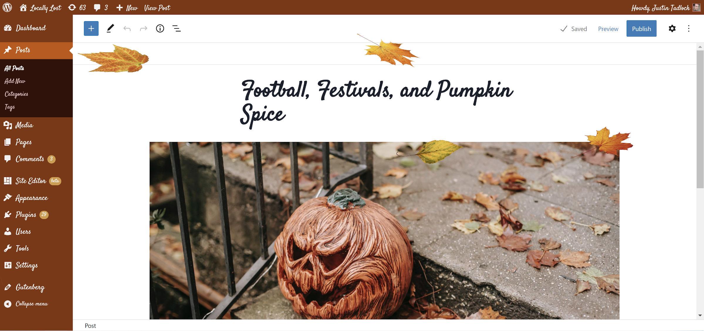 Pumpkin Spice Admin plugin showcased with falling leaves in the WordPress post editor.
