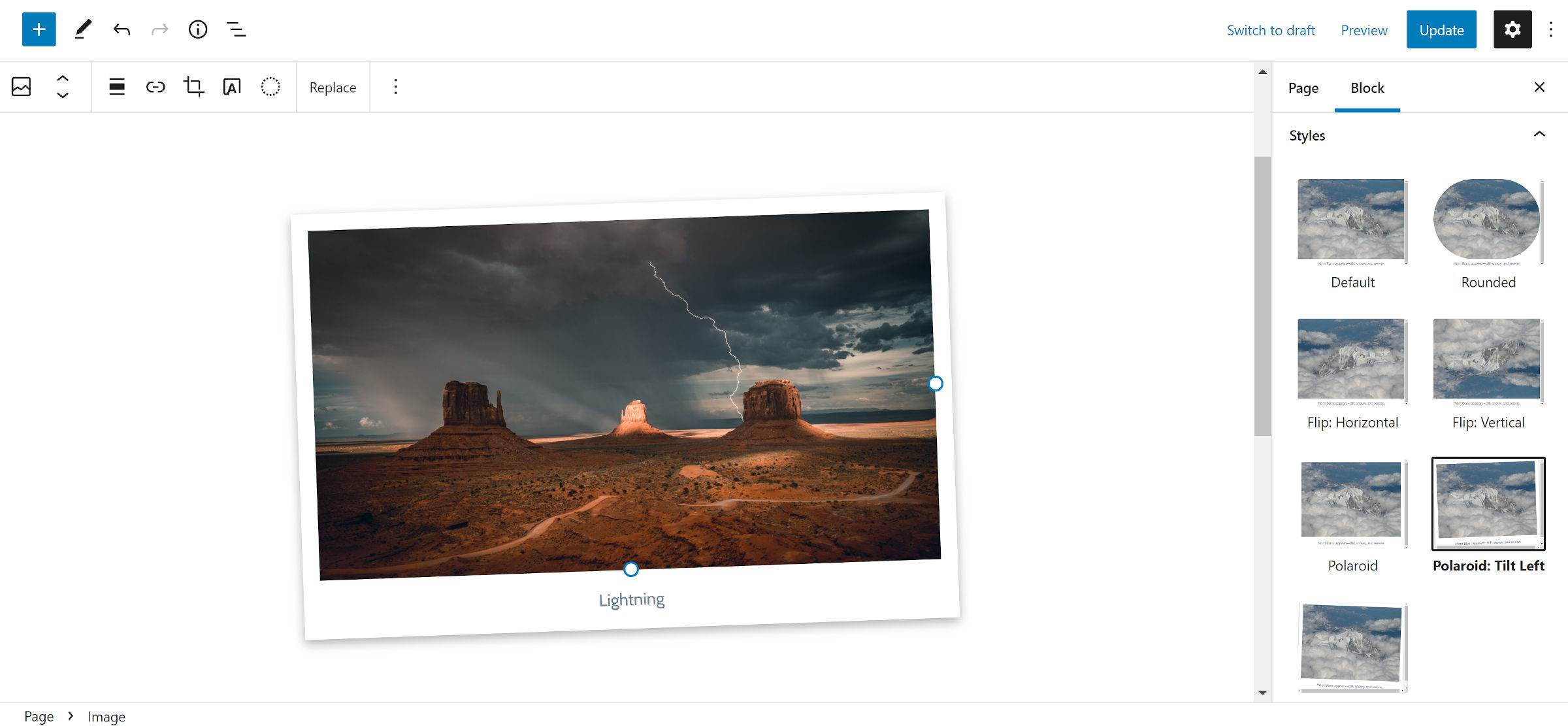 Block style for the WordPress Image block.  Selected is a Polaroid-style frame design that is tilted to the left.