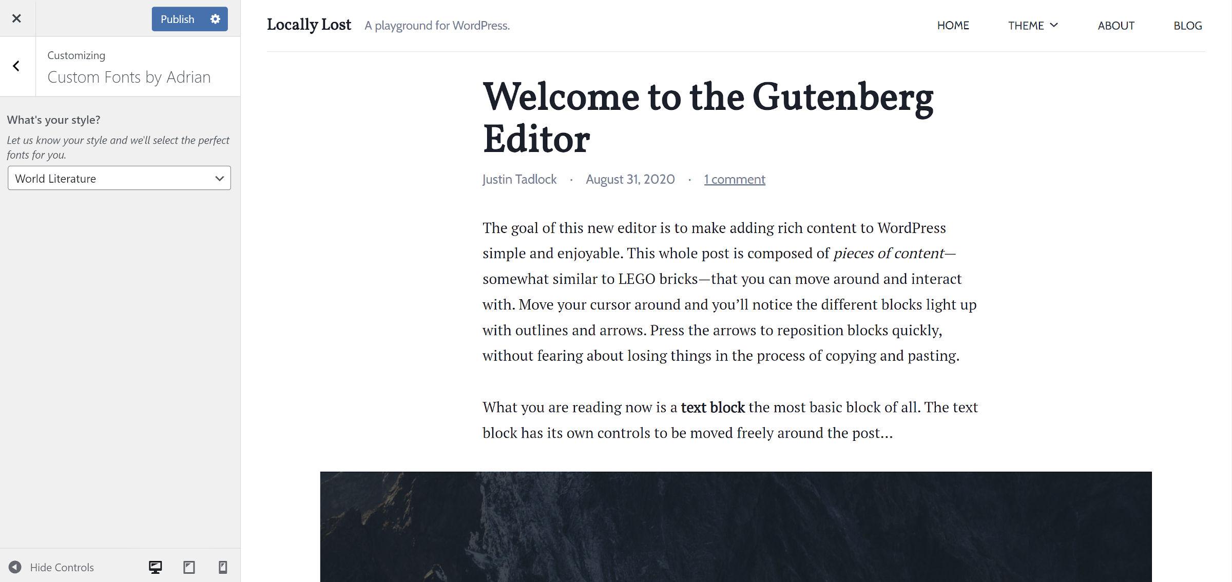 Serif-style font pairing in the WordPress theme customizer.