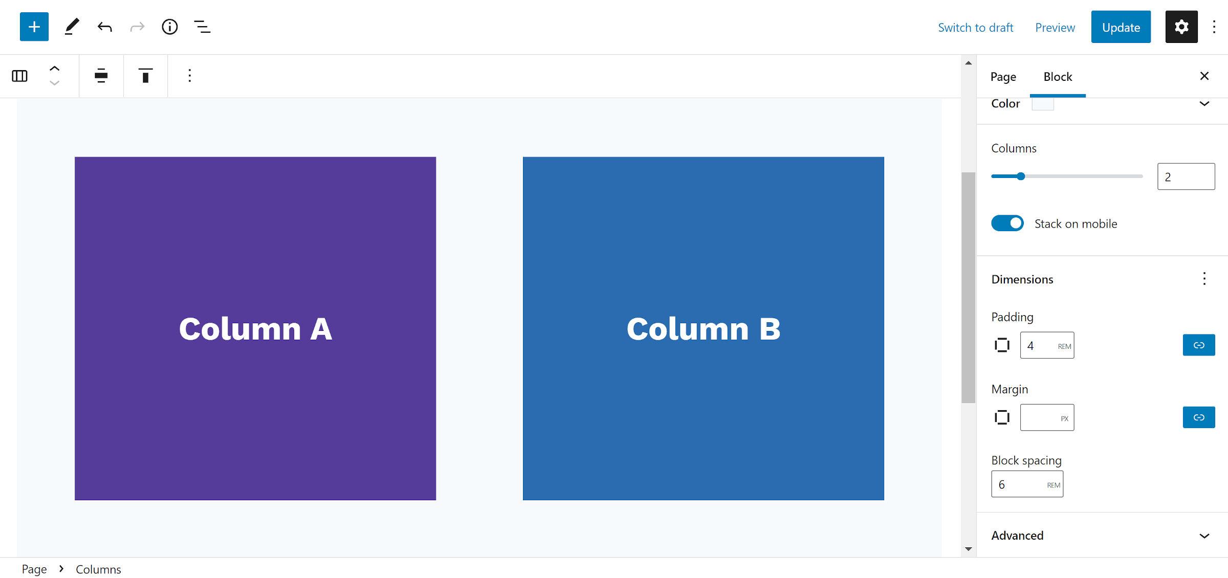 """Blocco colonne con una personalizzazione """"spaziatura dei blocchi"""" opzione nella barra laterale."""