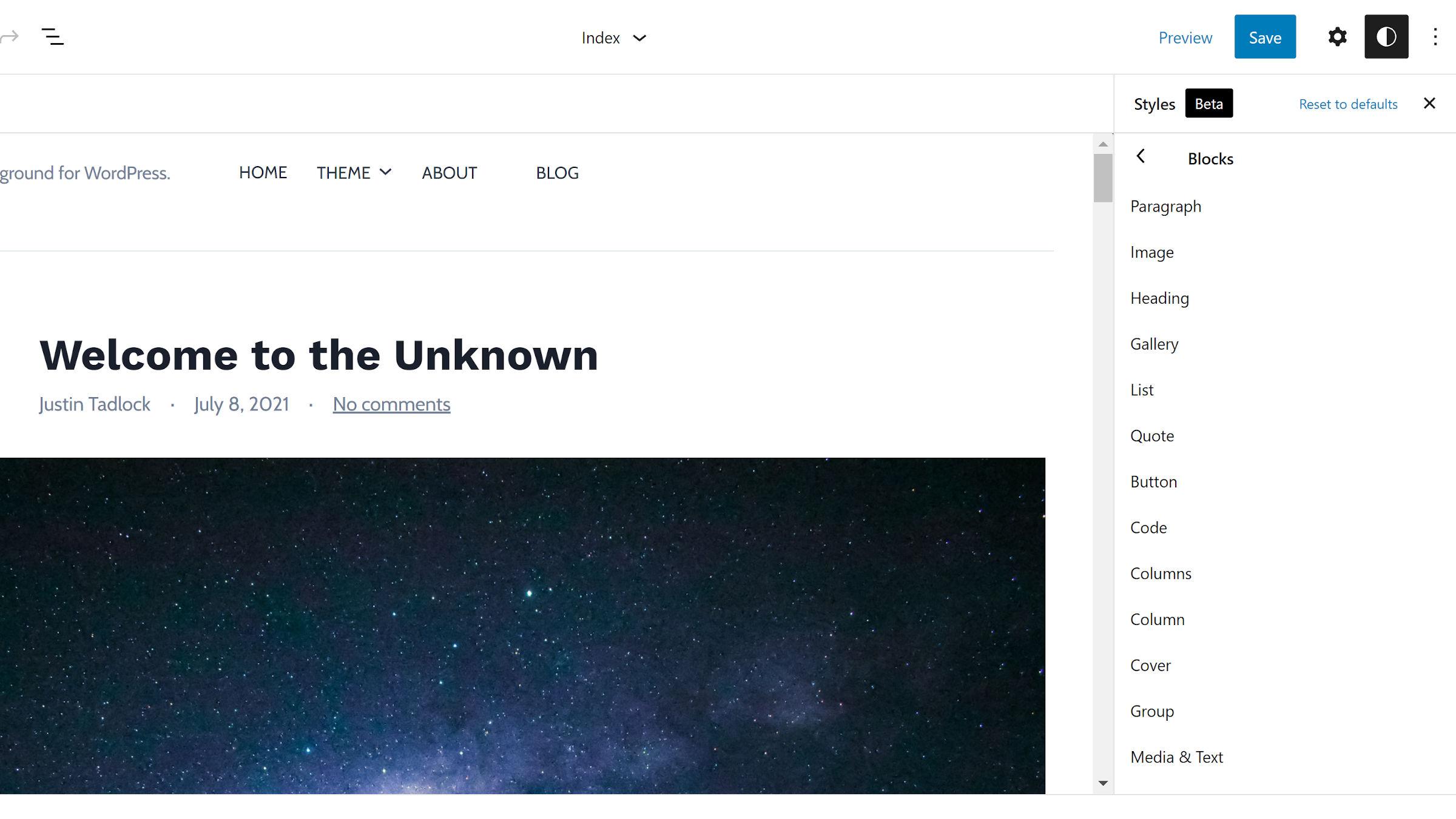 Elenco non ordinato dei blocchi del sito aperti nella sezione Stili globali dell'editor del sito.