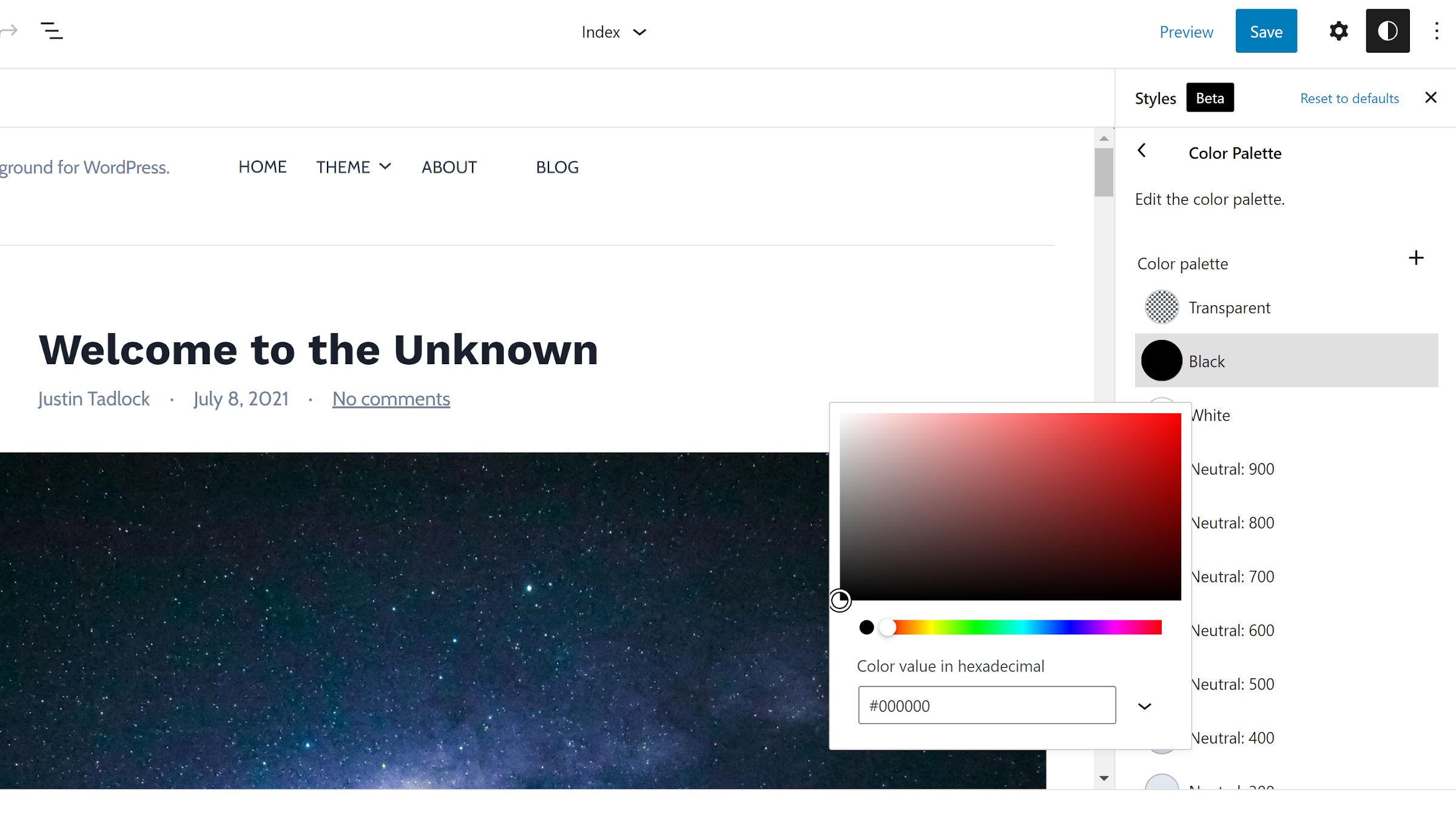 La sezione Tavolozza dei colori è stata aperta nella barra laterale Stili globali nell'editor del sito WordPress. Selettore colore aperto.