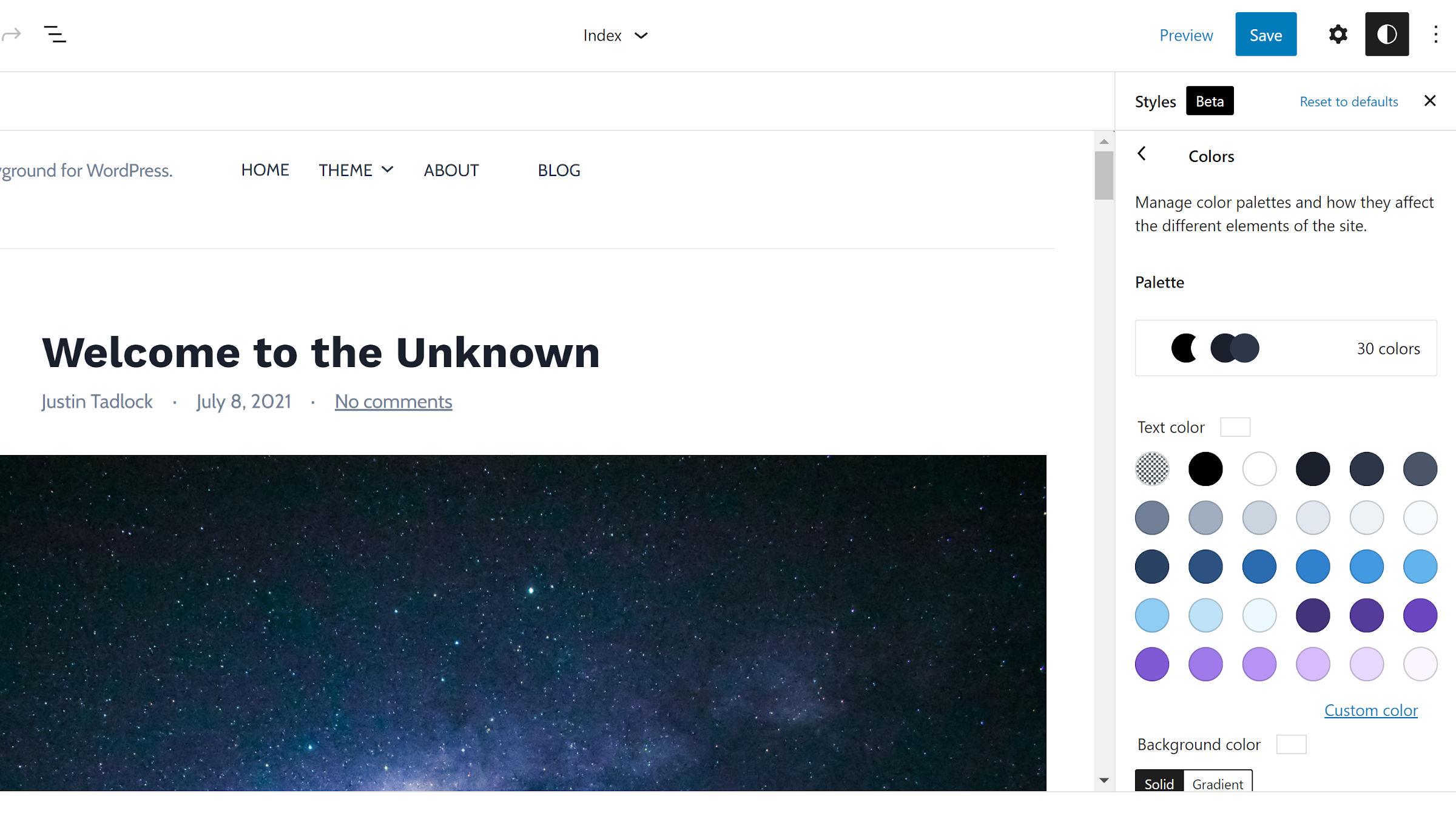 Barra laterale degli stili globali evidenziata nell'editor del sito con la sezione Colori aperta.