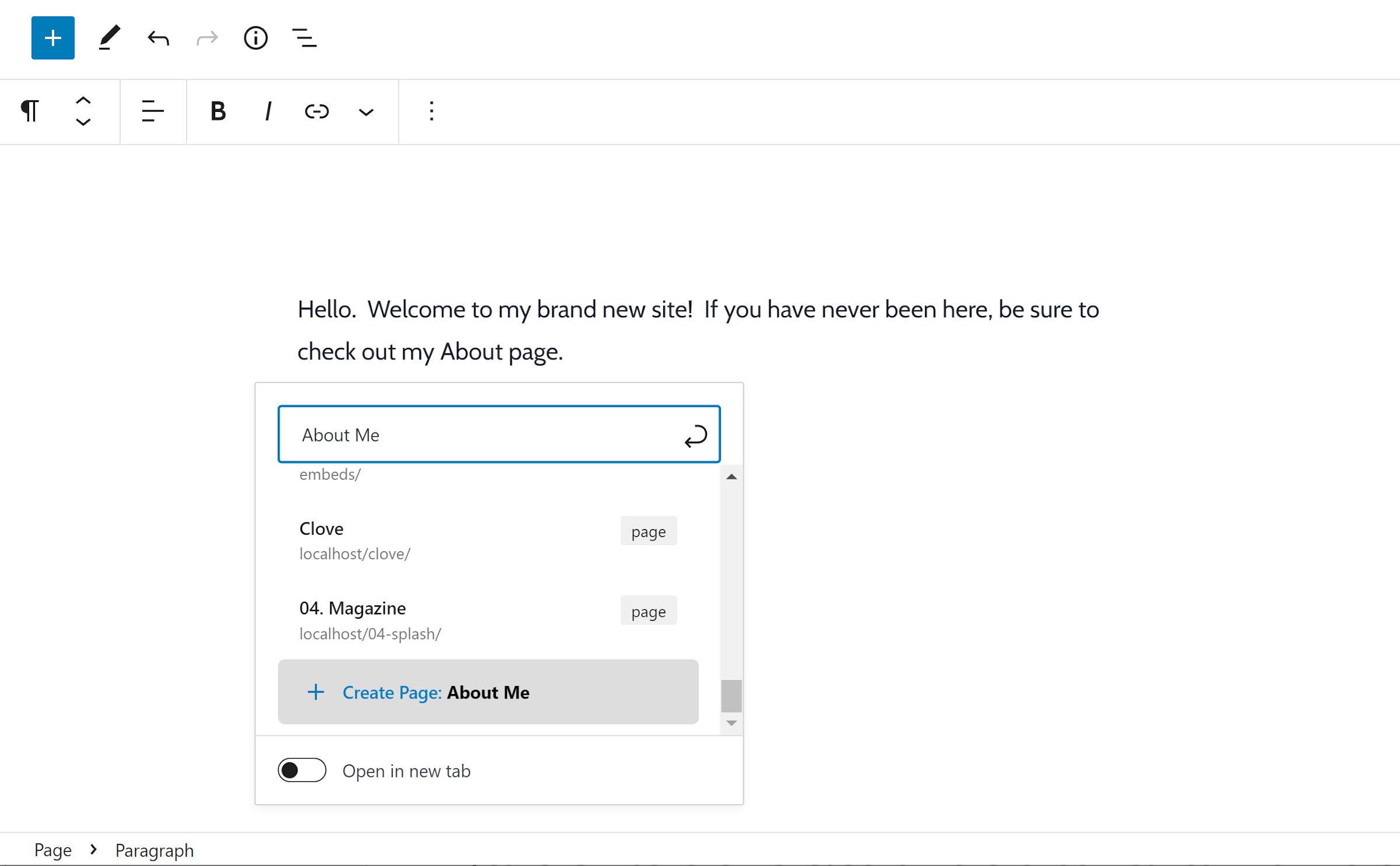 Link popover nell'editor di WordPress con un'opzione per creare una nuova pagina evidenziata.