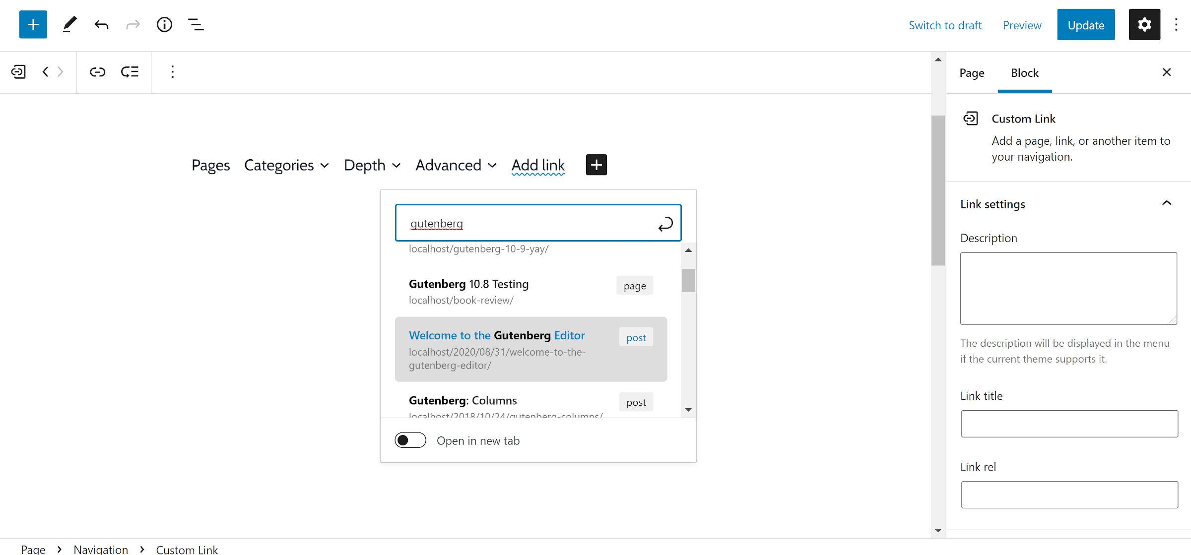 L'aggiunta di un nuovo elemento di navigazione fa apparire immediatamente un modulo di ricerca URL.