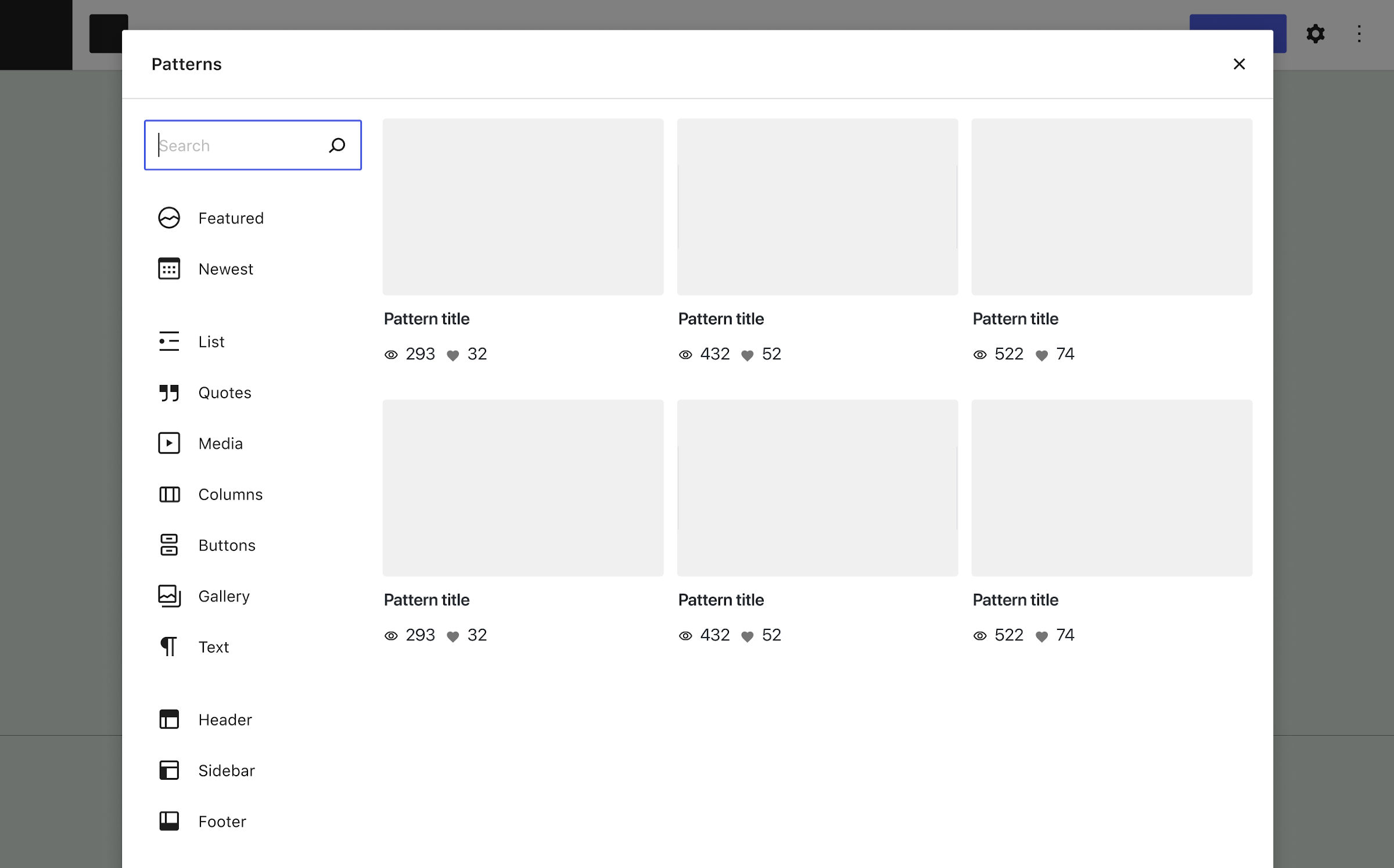 Popup overlay of a block patterns explorer with a list of categories on the left and tiled pattern previews on the right.